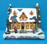Resin Christmas Decoration 11'' Lighted House Christmas Tree, Lamp with Adaptor