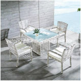 5 Years Warranty Foshan White Rattan Outdoor Furniture Garden Dining Table Set