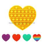 Heart-Shaped Pop It Silicone Popping Bubble Fidget Toy Autism Game Stress Relief Fidget Toys Sensory Fidget Kids Pop It Toy.