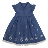 Wholesale Trendy Korean Style Fashion High Quality Summer Short Sleeve Sweet Elegant Beautiful Skirt Jean Denim Dress Designer Party Dresses for Kids Child Girl