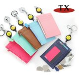 Slim PU Leather Credit Card Holder Front Coin Purse for Women and Girls with Key Chain