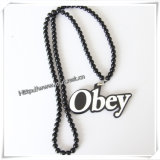 IP Hop Wood Fashion Pendant with 36 Inches Wood Beaded Chain (IO-wn014)