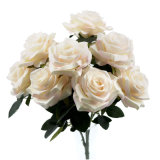 Hot Recommended Plastic 10 Head Luxury Wedding Flowers Silk Rose Artificial Flowers