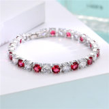 Fashion Jewelry Charm Colorful Stones Rhodium Plated Women Bracelet
