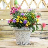 Simple Style Round Ornamental Magnesia Flower Pot for Sale