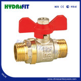 Hot Sale Brass Ball Valve with Butterfly Handle Full Bore Nickel Plated (MF11006)