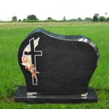 Customized Simple Black Granite Tombstone Memorial Monuments