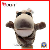 Grey Plush Hippo Hand Doll Puppet Toy