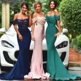 Sheath Sequins Party Prom Gowns off Shoulder Evening Dresses E29645