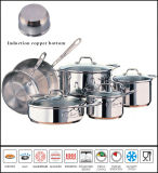 Kitchenware Greaseless Waterless Stainless Steel Cookware Set Impact Copper Bottom