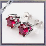 High Quality 5mm Synthetic Ruby Stud Earring in Sterling Silver