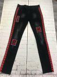Men's Printed Design Casual Biker Badges Brushed Denim Pants Jeans