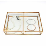 Wholesale Double Compartments Modern Golden Glass Jewelry Box