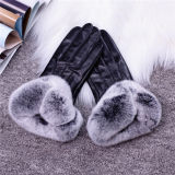 Ladies Luxury Real Sheepskin Leather with Fox Fur Cuff Phone Touch Leather Gloves