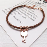 Key Shape Pendant Bracelet with Leather in Brown for Men Women