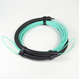 Elite Low Loss 24cores Optical Fiber MPO Female Patchcord with Pulling Eyes