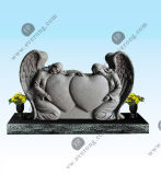 Detailed Carving Headstone White Marble Weeping Angel Headstone in Ameican Style