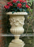Beige Stone Hand Carved Life Size Flower Planters