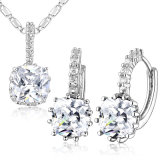 Elegant Wedding Jewelry White Gold Zircon Necklace Jewelry Set