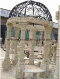 European Style Outdoor Gazebo Marble Sculpture Pavilion with Metal Roof