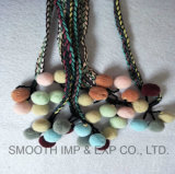 Fashion Pompom Belt Made of Brad Cord and Colorful Tassel