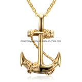 Men Stainless Steel Necklace Gold Colour Plated Titanium Anchor Pendant Jewelry 50mm Length Steel Chain Necklace Gift