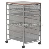 Free Standing Powder Coated Wire Mesh Drawer Laundry Trolley (ML-01)