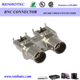Right Angle Dual BNC Female Connector PCB Mounting BNC Connector