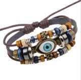 Fashion Eye Men Handmade Cowskin Bracelet Retro Bead Bracelet Jewelry
