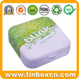 Food Grade Mini Small Square Metal Box Candy Gum Sweets Mints Tin with Plastic Inserts and Gem