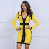 Long Sleeve V Neck Evening Dress Bandage Dress