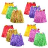 Multicolor Hawaiian Silk Faux Flowers Hula Grass Beauty Skirt for Costume Party, Events, Birthdays, Celebration Beach Dance Dress for Kids Children Adult