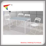Outdoor White Glass Dining Table with 4 Folding Chairsdt091
