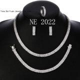 """14K Gold / Silver Plated 16"""" + 18"""" Double Tennis Chain & 2 Row X 8"""" Bracelet Set Men′s Women′s Necklace"""