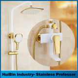 3-Setting Handheld Rainfall ABS Shower Head Perforated High Pressure Hand Shower Combo Set with Shower Arm