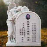 White Marble Stone Monument and Angel Sculpture Tombstone