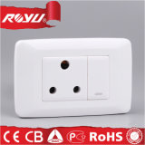 Single 15A Round Wall Socket with Push Button Switch