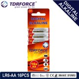 1.5V China Manufacture Digital Primary Alkaline Dry Battery (LR6-AA 16PCS)