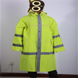 Fluorescence Green PVC/Polyester/PVC Raincoat with Reflective Tape