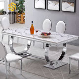 Modern Home Restaurant Furniture Set Special Metal Stainless Steel Marble Dining Room Table