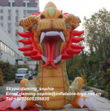 Golden Color Inflatable Dragon Outdoor Advertising Replicas Inflatable Dragon