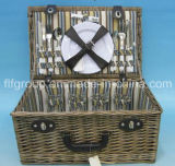 Customized Classical Lined Portable Wicker Picnic Basket with Natural Color