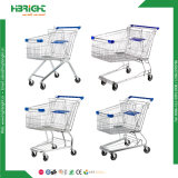 Zinc Galvanized Hypermarket Metal Shopping Trolley Cart