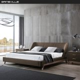 King Size Modern Luxury Bed with Nice Walnut Veneer Legs for Home Furniture