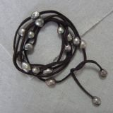 Big Freshwater Pearl Bracelet with Dark Brown Leather, Jewellery