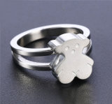 Fashion Women Gift Stainless Steel Bear Silver Ring Jewelry