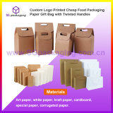 Custom Logo Printed Cheap Food Packaging Paper Gift Bag with Twisted Handles
