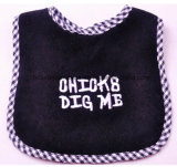 Factory OEM Produce Custom Logo Embroidered Black Knit Cotton Terry Baby Bibs for Feeding