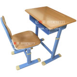 Cheap Child Furniture Wooden Double School Student Desk and Bench