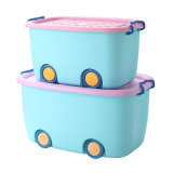 Plastic Children Storage Boxes with Wheels for Toy